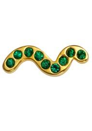 LULU COPENHAGEN Snaky Crystal Earring - Gold & Green