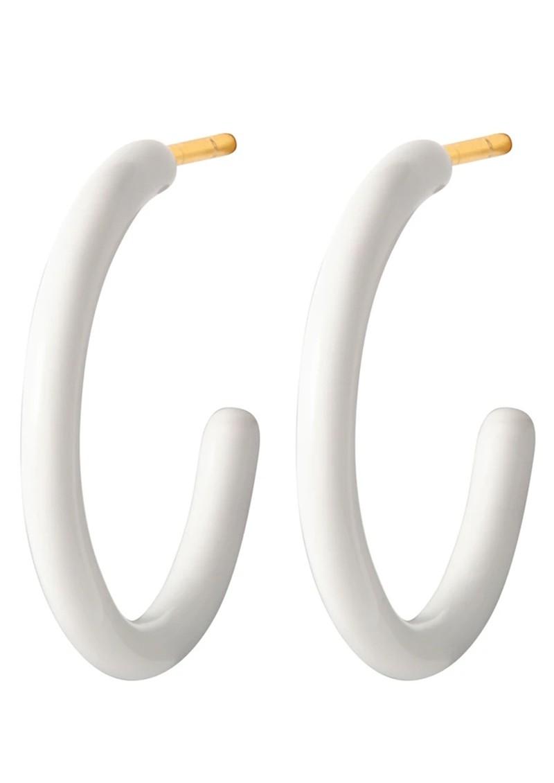 LULU COPENHAGEN Colour Medium Enamel Hoops - White main image