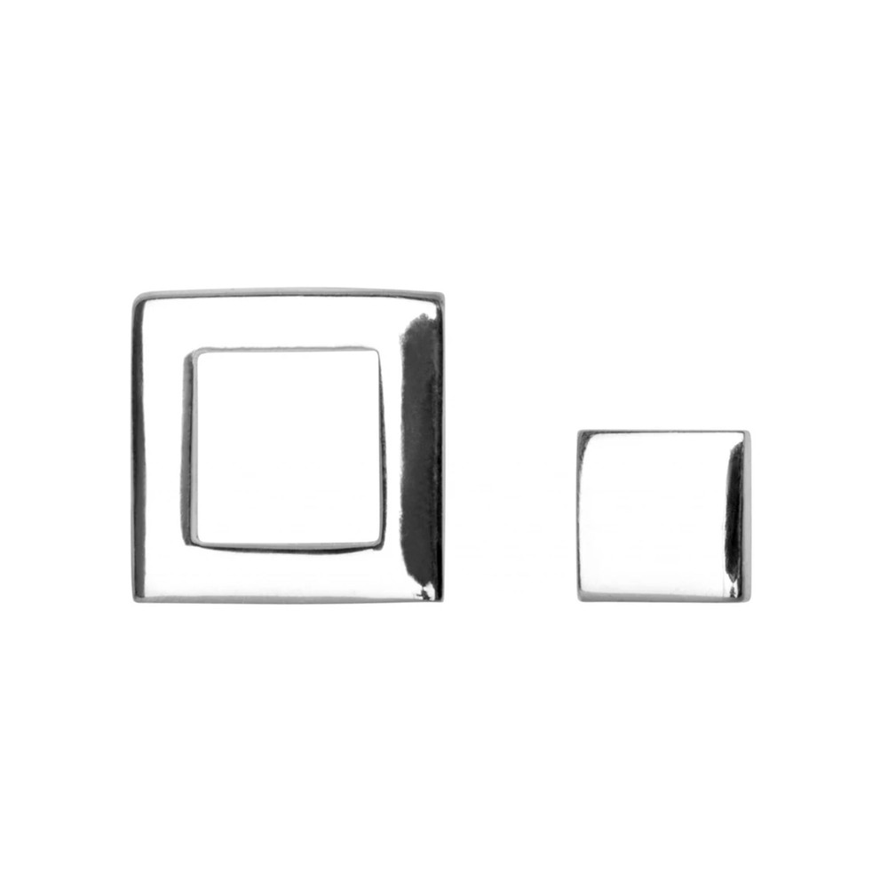 Family Square Stud Earrings - Silver