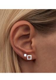 LULU COPENHAGEN Family Square Stud Earrings - Silver