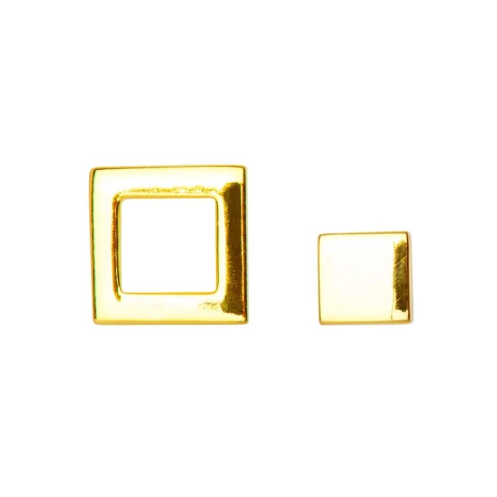 Family Square Stud Earrings - Gold