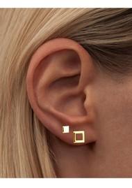 LULU COPENHAGEN Family Square Stud Earrings - Gold
