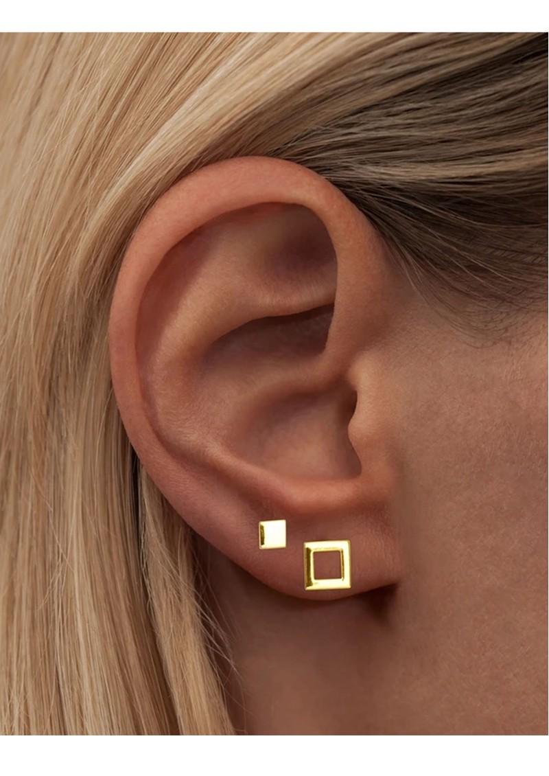 LULU COPENHAGEN Family Square Stud Earrings - Gold main image