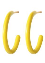 LULU COPENHAGEN Colour Medium Enamel Hoops - Yellow