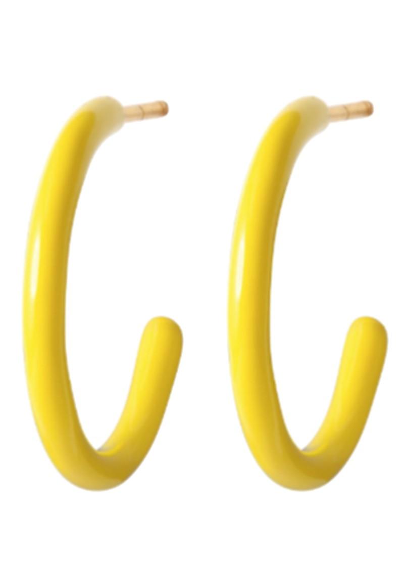 LULU COPENHAGEN Colour Medium Enamel Hoops - Yellow main image