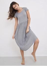 STRIPE & STARE Ribbed Midi T Dress - Grey