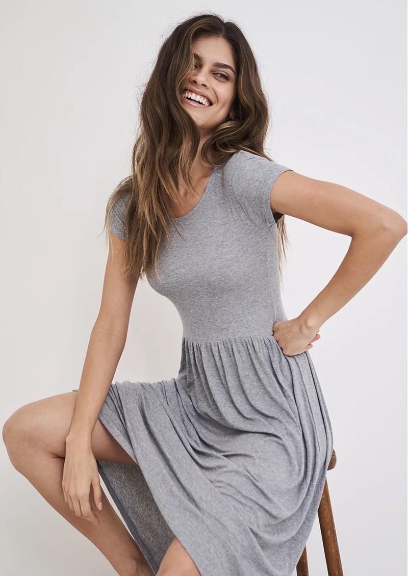 STRIPE & STARE Ribbed Midi T Dress - Grey main image