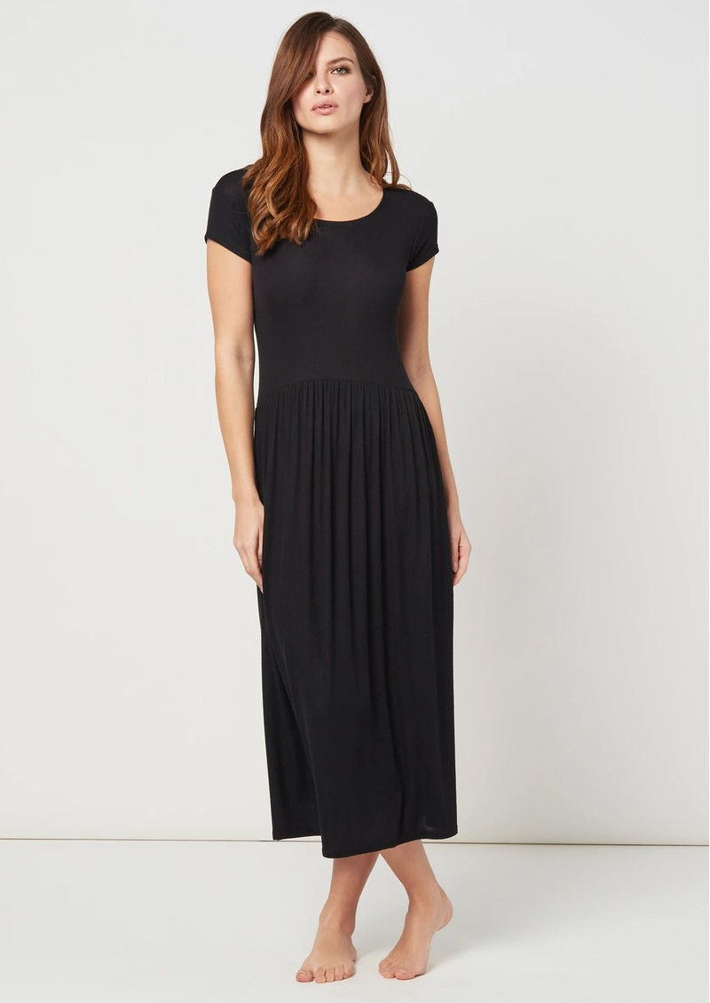 STRIPE & STARE Ribbed Midi T Dress - Black main image