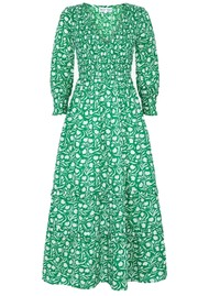 PINK CITY PRINTS Isabelle V Neck Organic Cotton Dress - Green