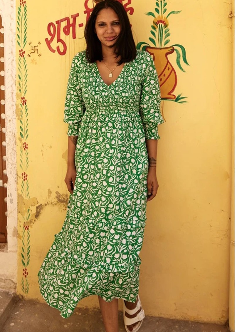 PINK CITY PRINTS Isabelle V Neck Organic Cotton Dress - Green main image