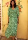 Isabelle V Neck Organic Cotton Dress - Green additional image