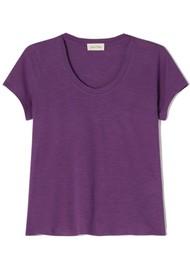 American Vintage Jacksonville U Neck Short Sleeve T-Shirt - Vintage Plum