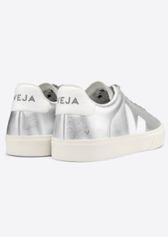 VEJA Campo Leather Trainers - Silver & White