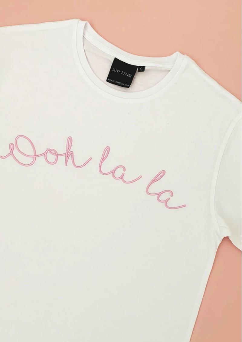 OLIVE & FRANK Ooh La La Cotton Tee - White & Pink main image