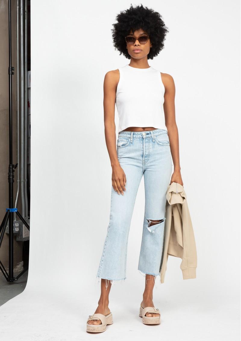RAG & BONE Maya High Waisted Slim Fit Distressed Cropped Jeans - Montaukhl main image