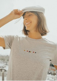 OLIVE & FRANK Oh Happy Days Cotton Tee - Heather Grey