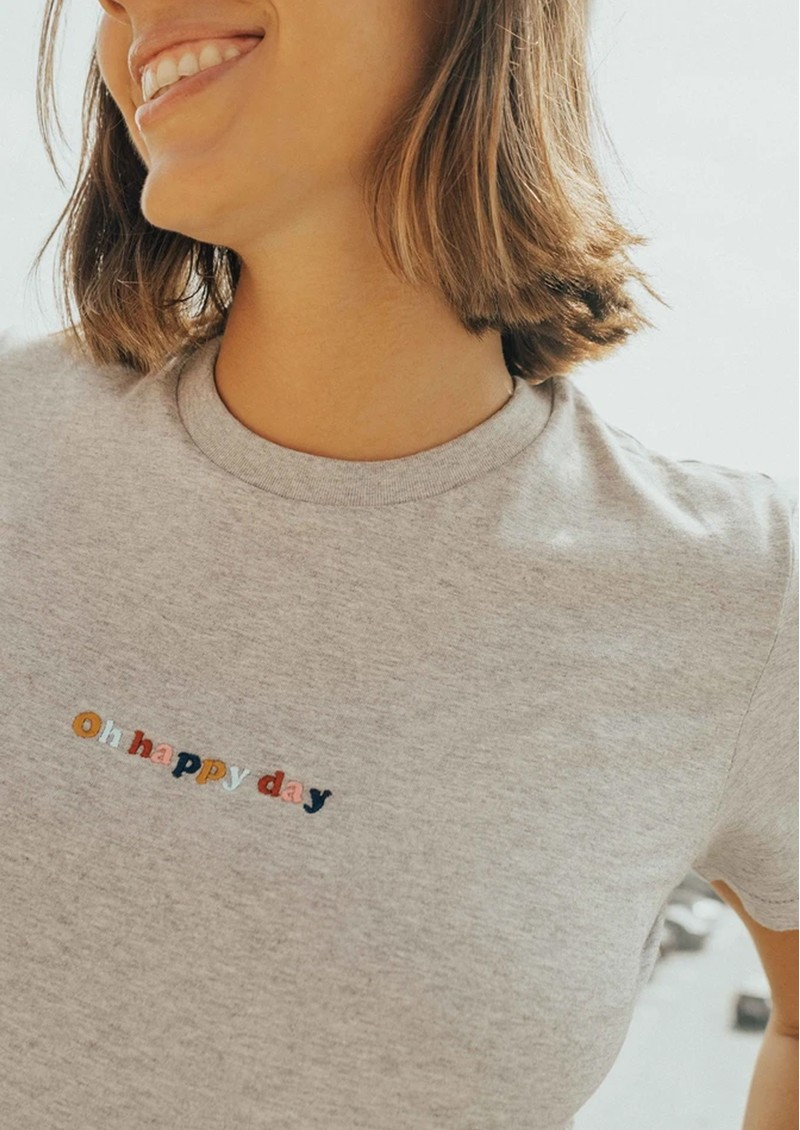OLIVE & FRANK Oh Happy Days Cotton Tee - Heather Grey main image