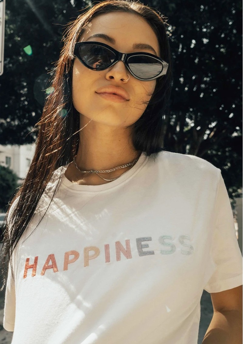 OLIVE & FRANK Happiness Cotton Tee - White main image