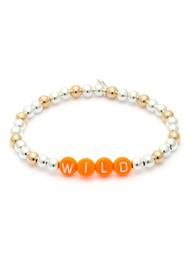 BONNY & BLITHE Wild Orange Beaded Bracelet - Silver & Gold