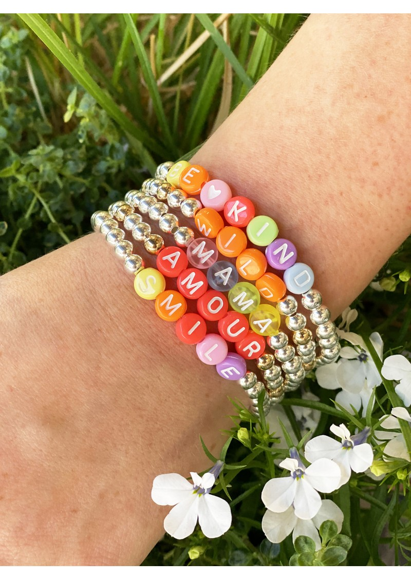 BONNY & BLITHE Amour Coral Beaded Bracelet - Silver & Gold main image