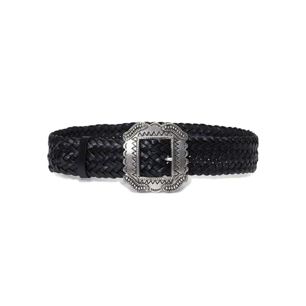 Braid Leather Belt - Black