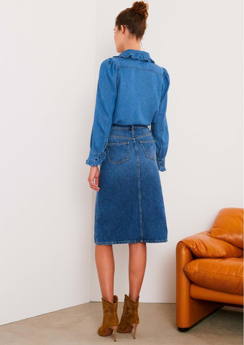 Ba&sh Dona Denim Skirt - Handbrush main image