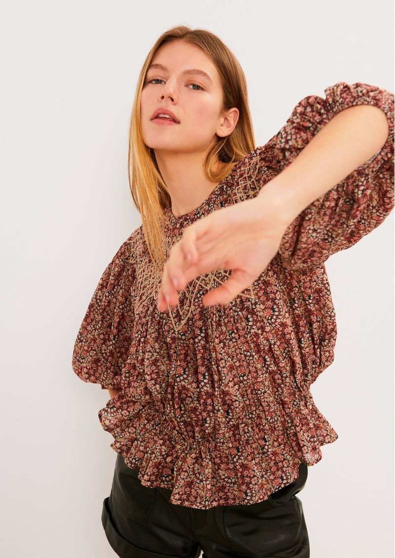 Ba&sh Isaure Cotton Mix Blouse - Greige main image