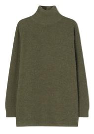 American Vintage Omobay High Collar Long Length Jumper - Khaki