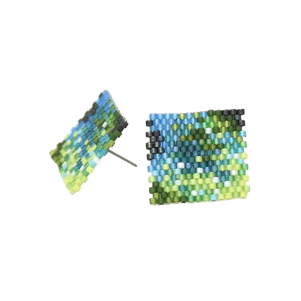 Selva Y Agua Beaded Earrings - Blue & Green
