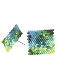 MISHKY Selva Y Agua Beaded Earrings - Blue & Green
