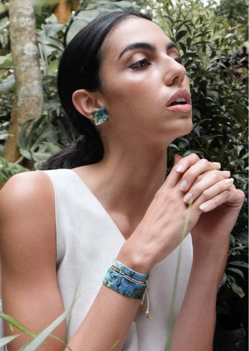 MISHKY Selva Y Agua Beaded Earrings - Blue & Green main image