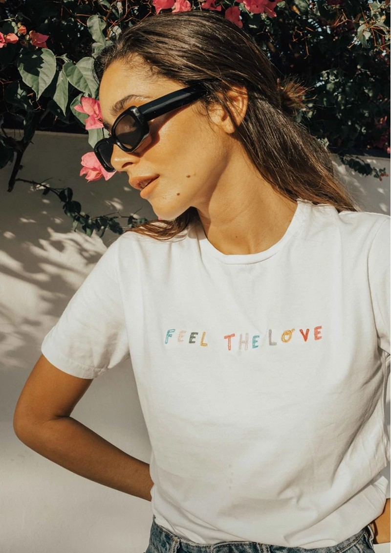 OLIVE & FRANK Feel The Love Cotton Tee - White main image