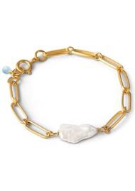 ENAMEL COPENHAGEN Viola Fresh Water Pearl Chain Bracelet - Gold