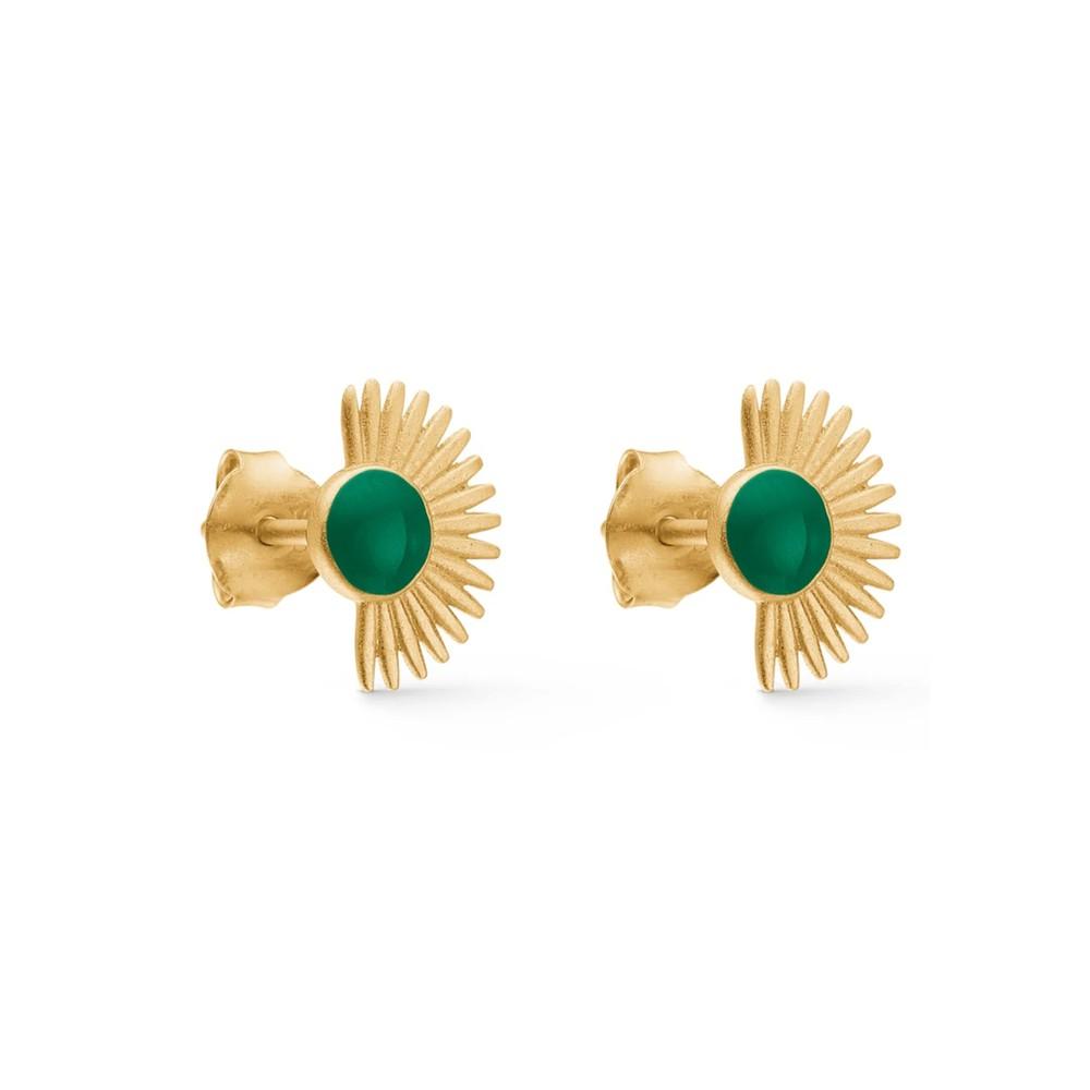 Soleil Stud Earrings - Petrol Green