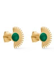ENAMEL COPENHAGEN Soleil Stud Earrings - Petrol Green