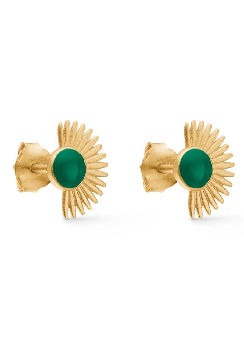 ENAMEL COPENHAGEN Soleil Stud Earrings - Petrol Green main image