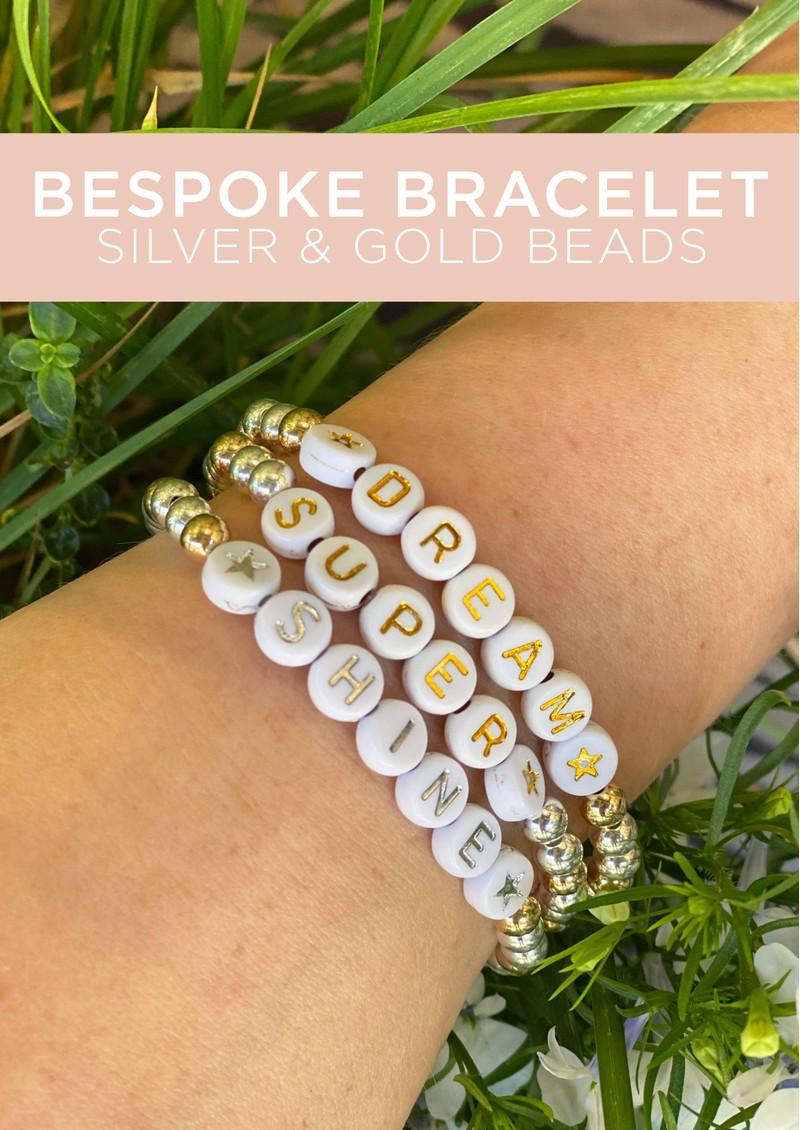 BONNY & BLITHE Bespoke Beaded Bracelet - Silver & Gold Beads main image