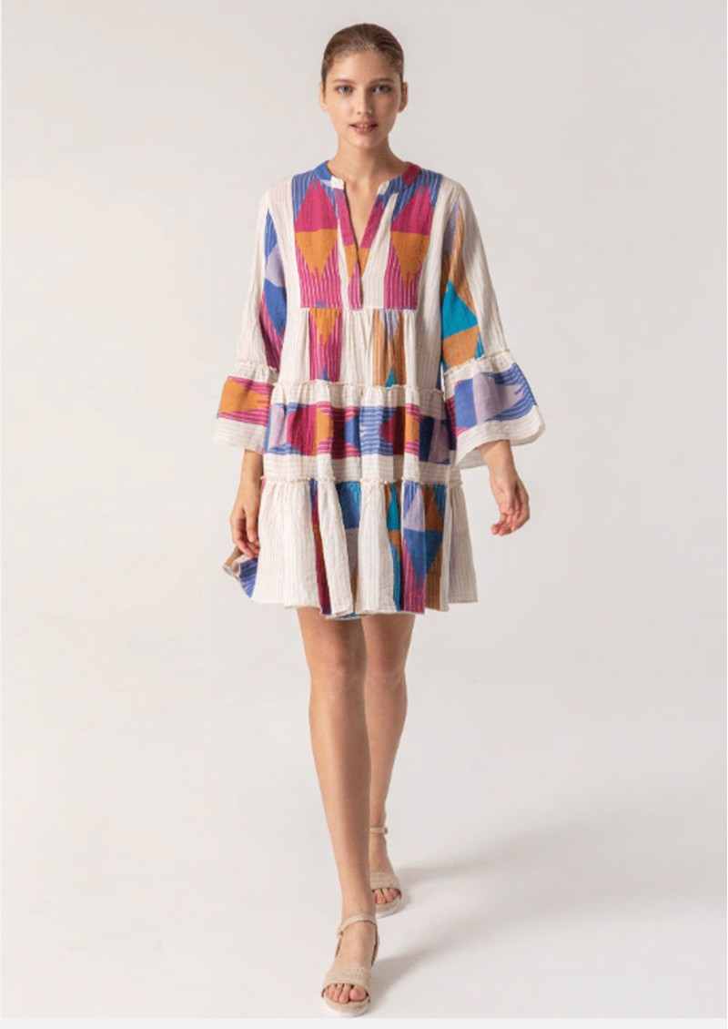 DEVOTION Zakar Ella Cotton Embroidered Dress - Lila main image