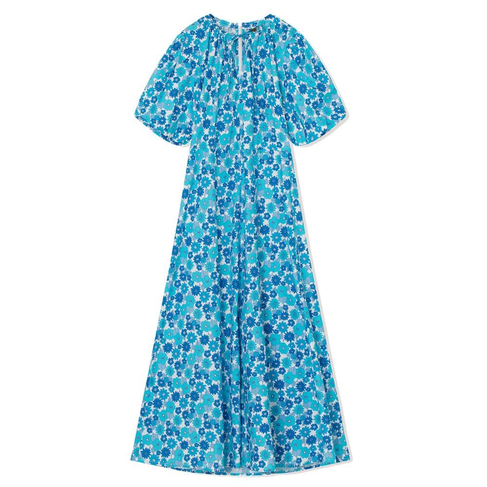 Fiona Organic Cotton Floral Dress - Light Blue