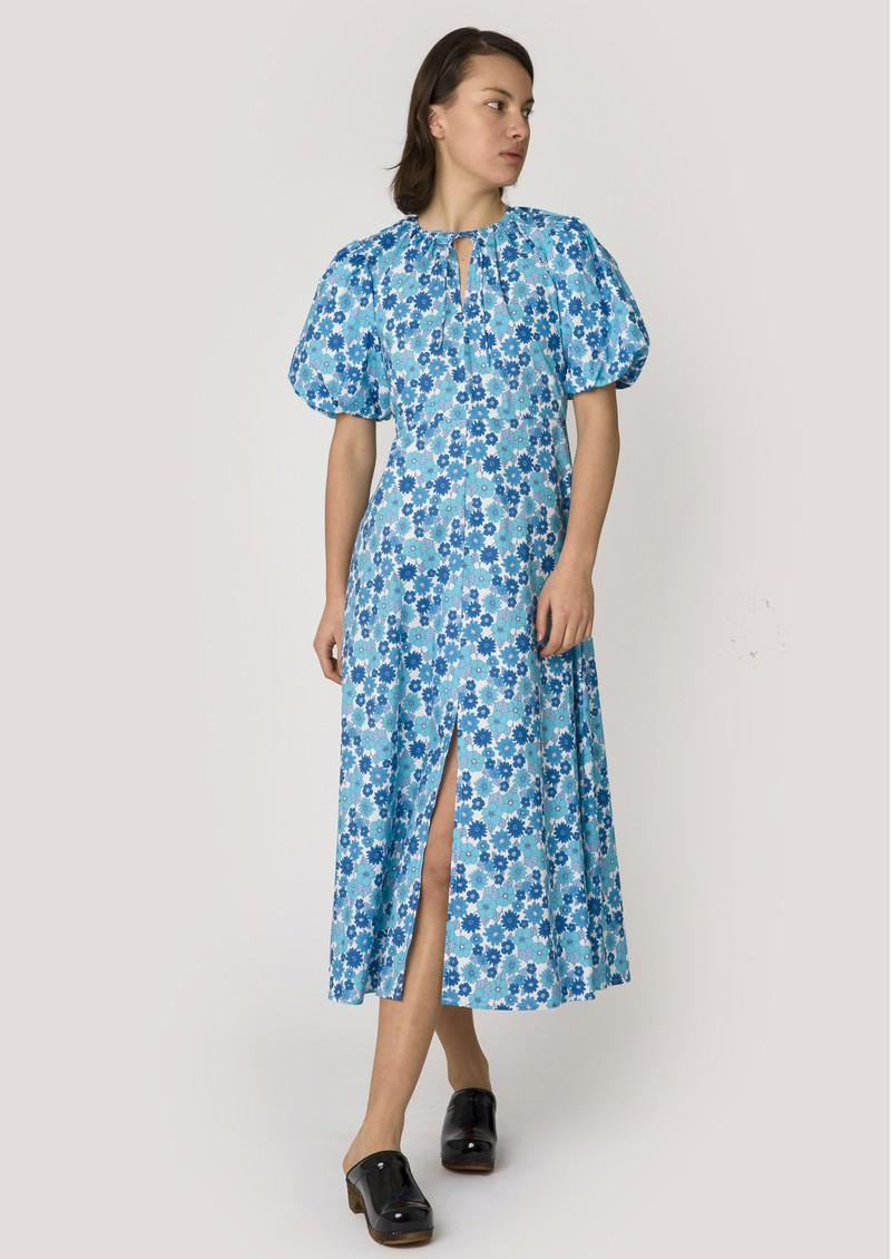 RESUME Fiona Organic Cotton Floral Dress - Light Blue main image