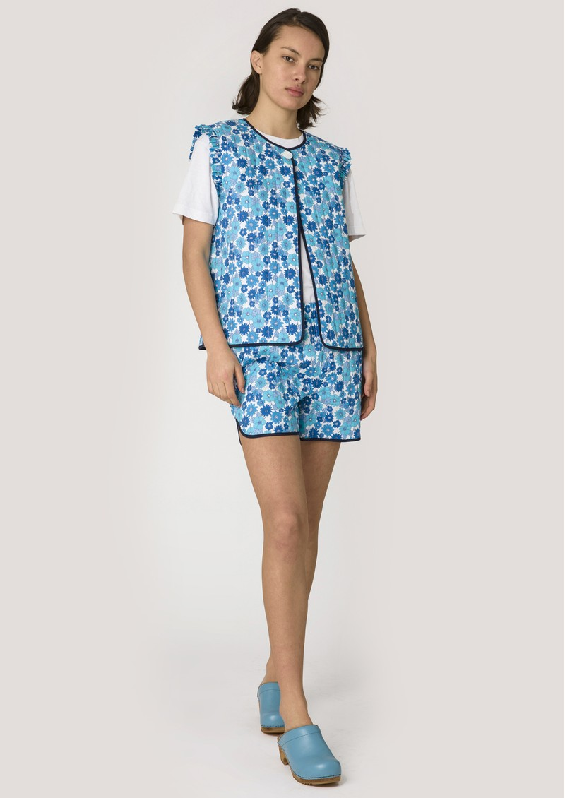RESUME Fatma Quilted Cotton Gilet - Light Blue main image