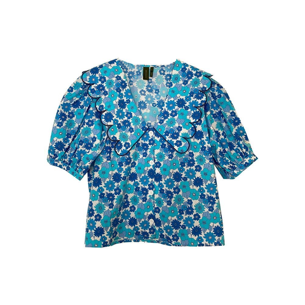 Free Organic Cotton Floral Top - Light Blue