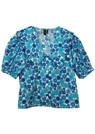 RESUME Free Organic Cotton Floral Top - Light Blue