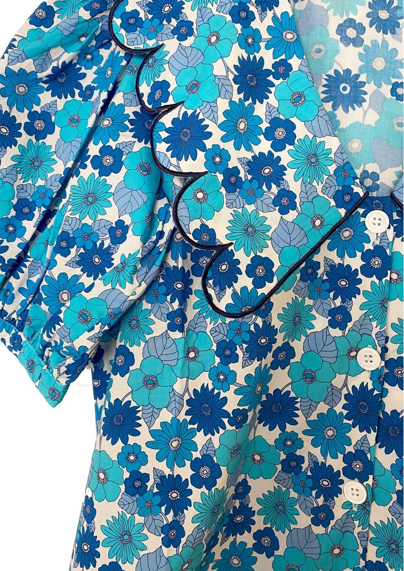 RESUME Free Organic Cotton Floral Top - Light Blue main image