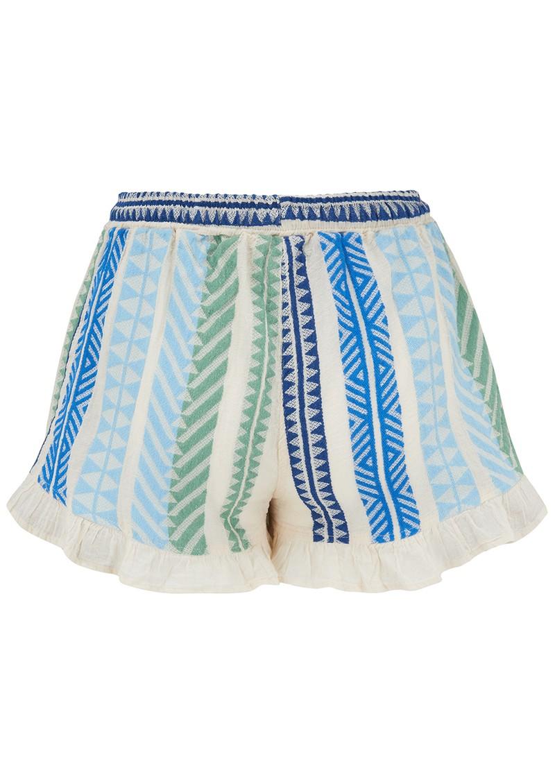 DEVOTION Zakar Cotton Embroidered Shorts - Green main image