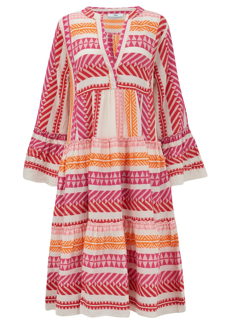 DEVOTION Zakar Ella Cotton Embroidered Dress - Fuschia main image