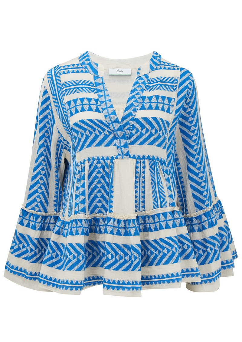 DEVOTION Armonia Cotton Blouse - Blue & White  main image