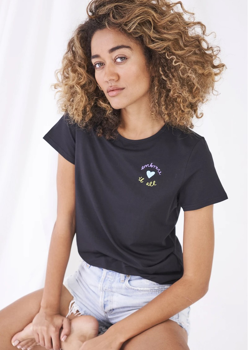 STRIPE & STARE Embroidered Black Tee - Embrace It main image