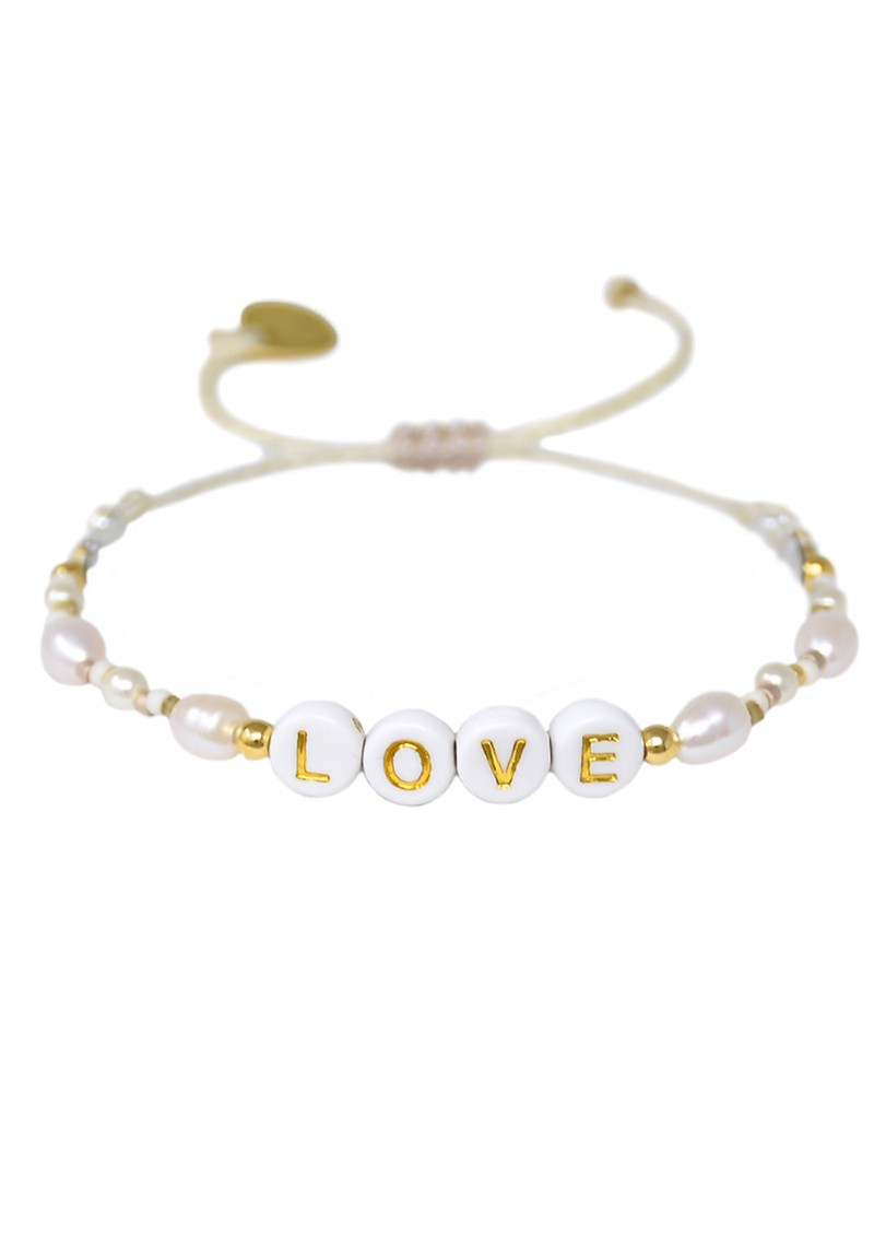 MISHKY Exclusive Love Beaded Bracelet - Pearl & Gold main image