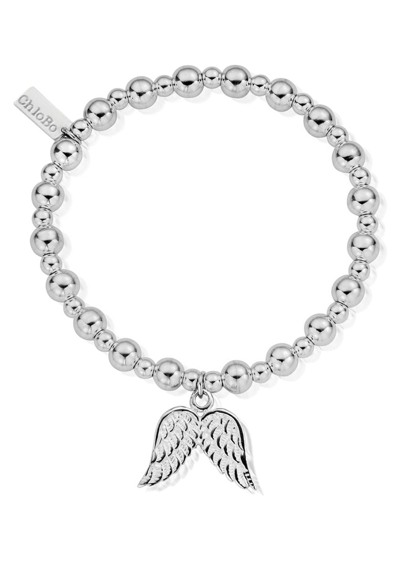 ChloBo Mini Small Ball Bracelet With Double Wing Charm - Silver main image